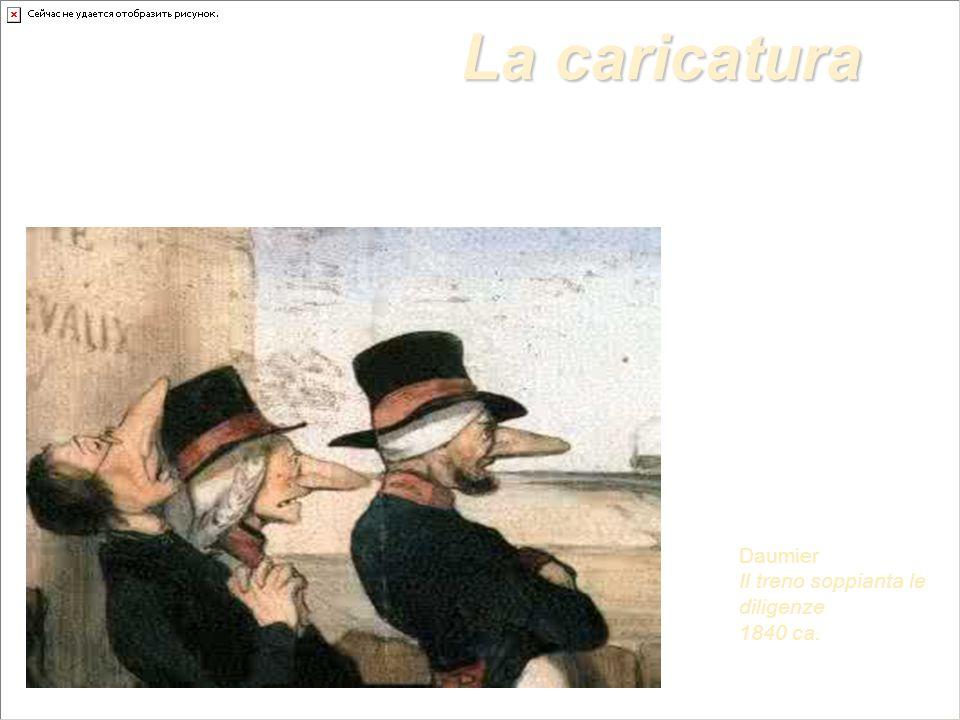 La caricatura Daumier Il treno soppianta le diligenze 1840 ca.