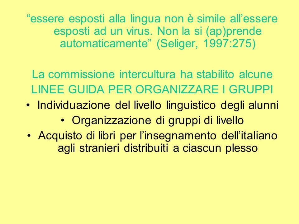 essere esposti alla lingua non è simile allessere esposti ad un virus. Non la si (ap)prende automaticamente (Seliger, 1997:275) La commissione intercu