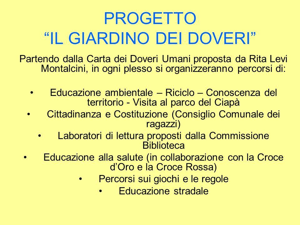 PROGETTO IL GIARDINO DEI DOVERI Partendo dalla Carta dei Doveri Umani proposta da Rita Levi Montalcini, in ogni plesso si organizzeranno percorsi di: