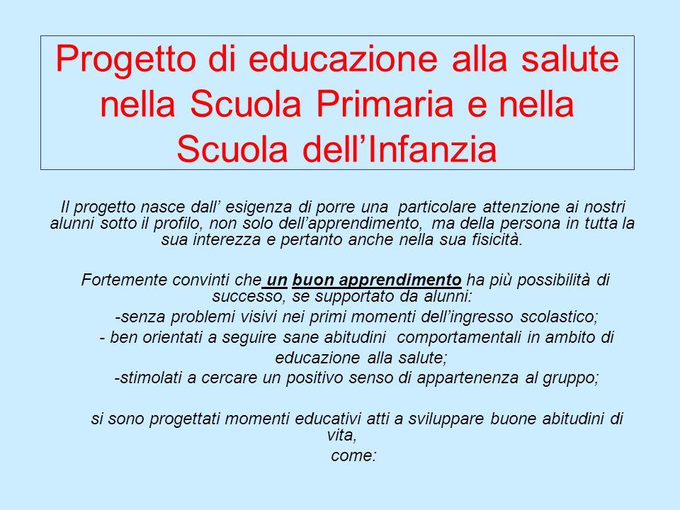 Progetto di educazione alla salute nella Scuola Primaria e nella Scuola dellInfanzia Il progetto nasce dall esigenza di porre una particolare attenzio