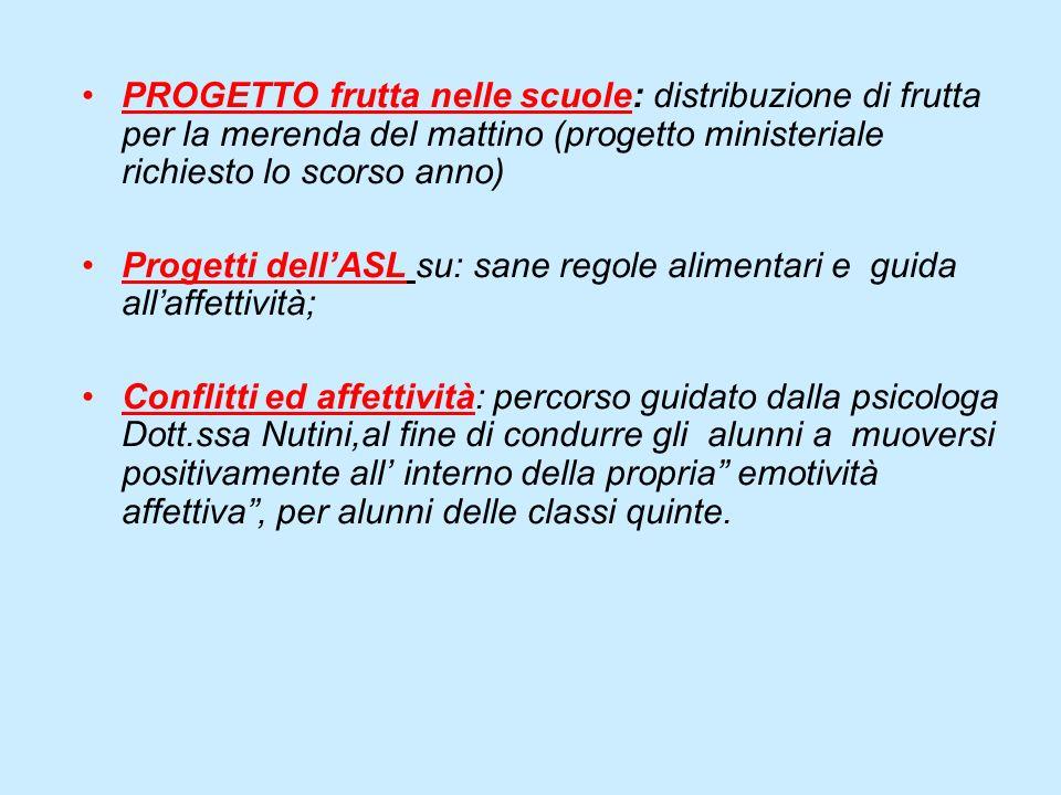 PROGETTO frutta nelle scuole: distribuzione di frutta per la merenda del mattino (progetto ministeriale richiesto lo scorso anno) Progetti dellASL su: