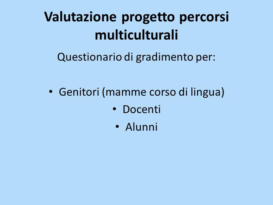 Valutazione progetto percorsi multiculturali Questionario di gradimento per: Genitori (mamme corso di lingua) Docenti Alunni