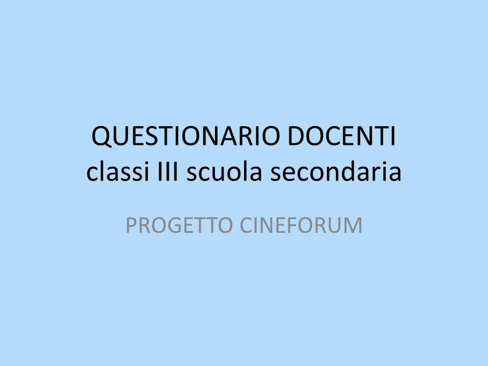 QUESTIONARIO DOCENTI classi III scuola secondaria PROGETTO CINEFORUM