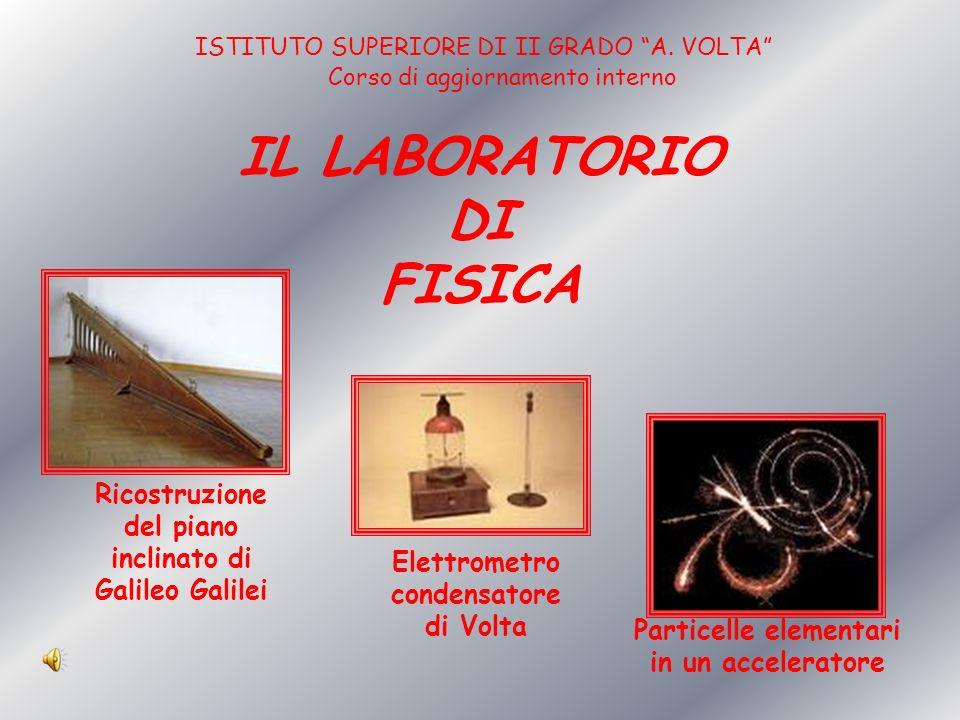 IL LABORATORIO DI FISICA Ricostruzione del piano inclinato di Galileo Galilei Elettrometro condensatore di Volta Particelle elementari in un accelerat