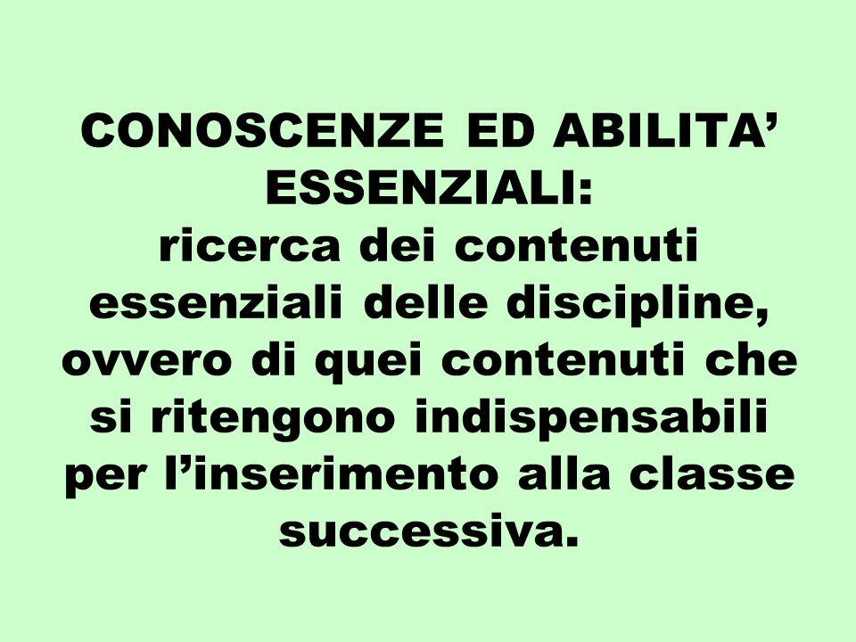 CONOSCENZE ED ABILITA ESSENZIALI: ricerca dei contenuti essenziali delle discipline, ovvero di quei contenuti che si ritengono indispensabili per linserimento alla classe successiva.