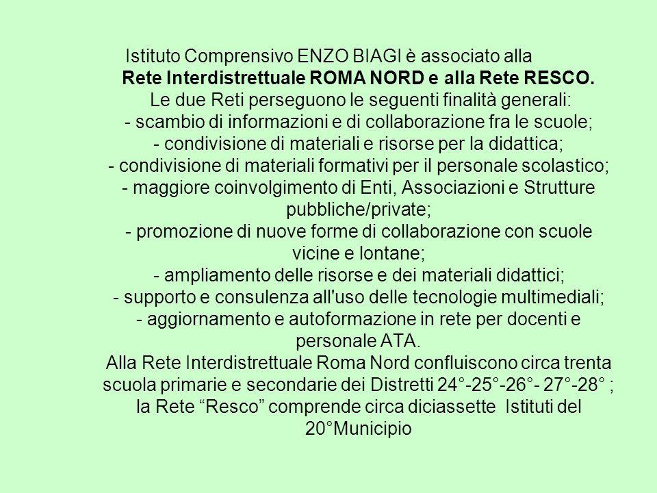 Istituto Comprensivo ENZO BIAGI è associato alla Rete Interdistrettuale ROMA NORD e alla Rete RESCO.