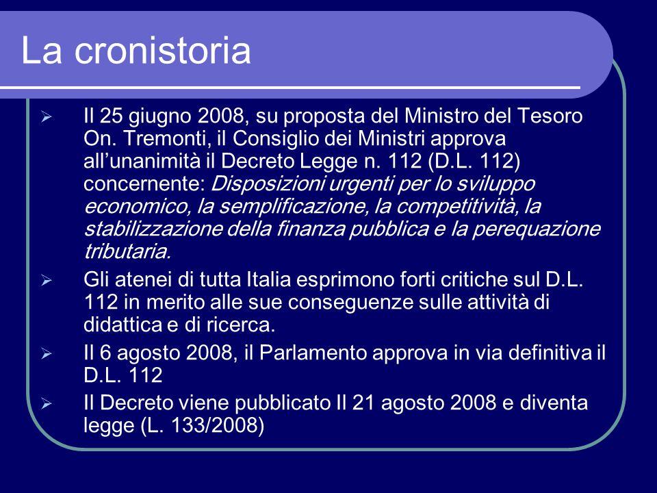 La cronistoria Il 25 giugno 2008, su proposta del Ministro del Tesoro On.