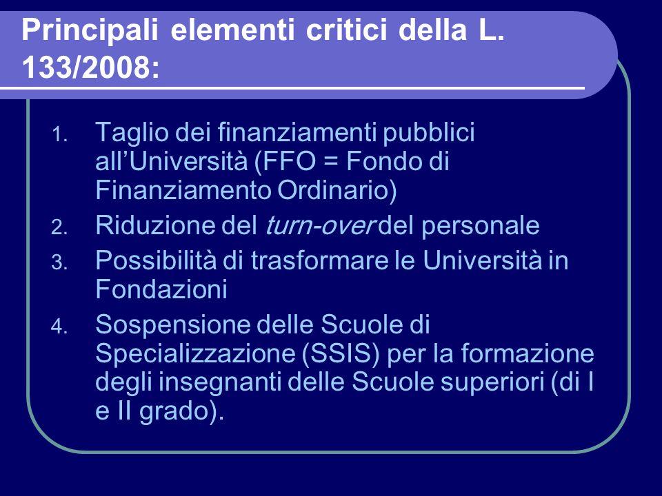 Principali elementi critici della L.133/2008: 1.