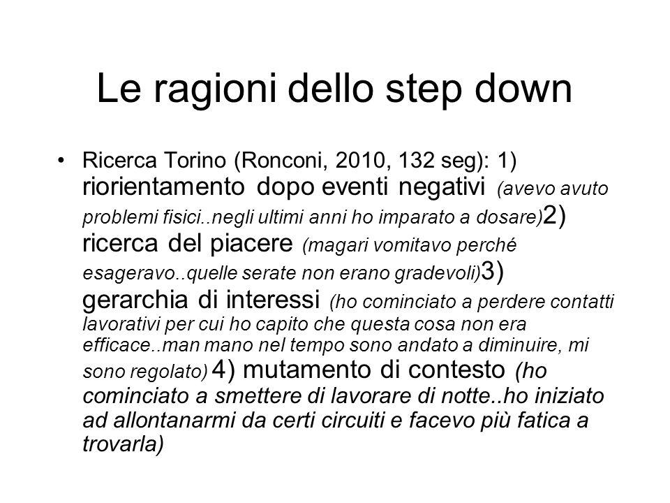 Le ragioni dello step down Ricerca Torino (Ronconi, 2010, 132 seg): 1) riorientamento dopo eventi negativi (avevo avuto problemi fisici..negli ultimi anni ho imparato a dosare) 2) ricerca del piacere (magari vomitavo perché esageravo..quelle serate non erano gradevoli) 3) gerarchia di interessi (ho cominciato a perdere contatti lavorativi per cui ho capito che questa cosa non era efficace..man mano nel tempo sono andato a diminuire, mi sono regolato) 4) mutamento di contesto (ho cominciato a smettere di lavorare di notte..ho iniziato ad allontanarmi da certi circuiti e facevo più fatica a trovarla)