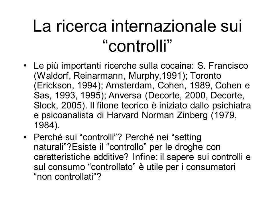 La ricerca internazionale sui controlli Le più importanti ricerche sulla cocaina: S.