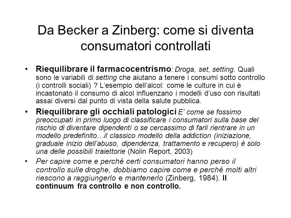 Da Becker a Zinberg: come si diventa consumatori controllati Riequilibrare il farmacocentrismo : Droga, set, setting.