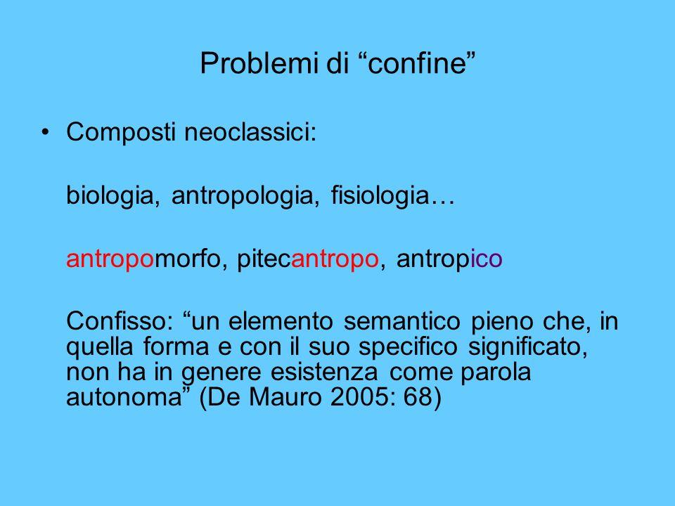 Problemi di confine Composti neoclassici: biologia, antropologia, fisiologia… antropomorfo, pitecantropo, antropico Confisso: un elemento semantico pi