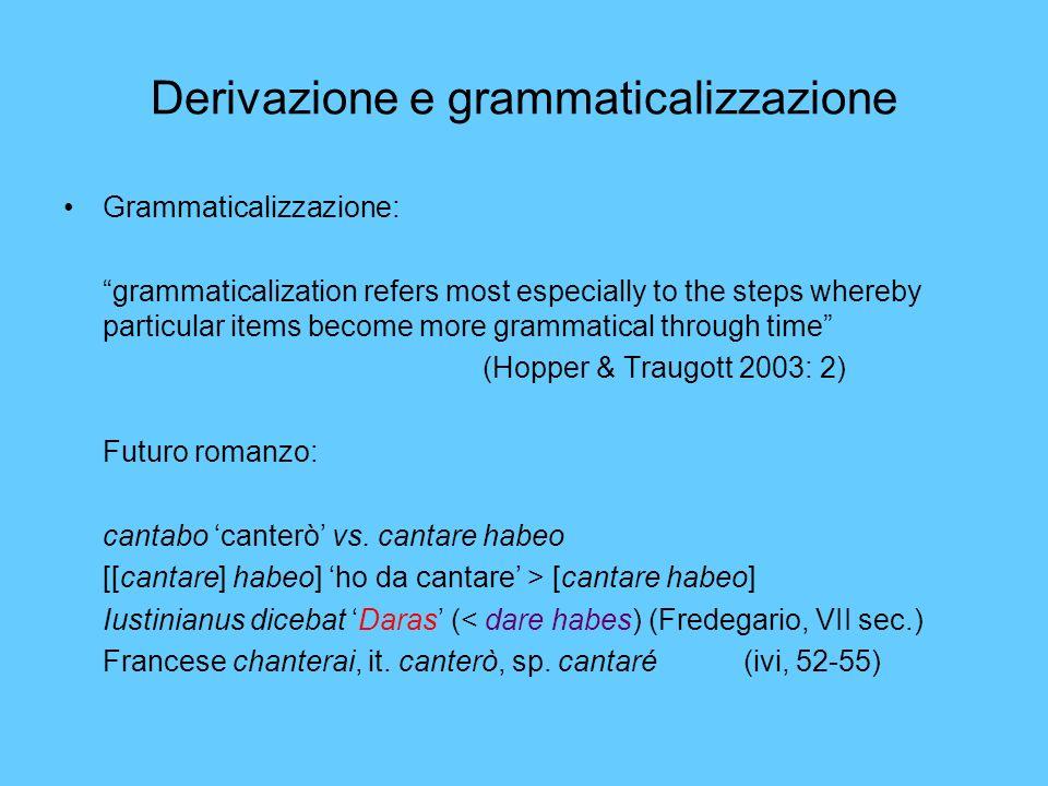 Derivazione e grammaticalizzazione Grammaticalizzazione: grammaticalization refers most especially to the steps whereby particular items become more g