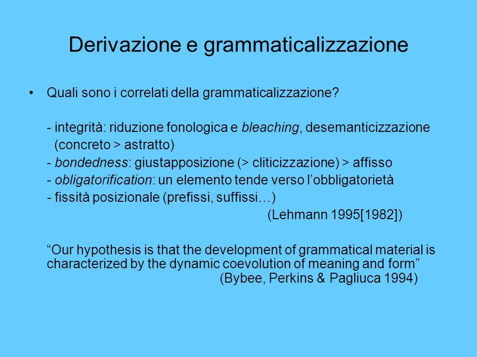 Derivazione e grammaticalizzazione Quali sono i correlati della grammaticalizzazione? - integrità: riduzione fonologica e bleaching, desemanticizzazio