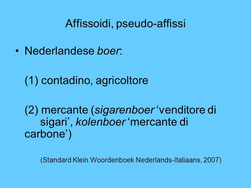 Affissoidi, pseudo-affissi Nederlandese boer: (1) contadino, agricoltore (2) mercante (sigarenboer venditore di sigari, kolenboer mercante di carbone)