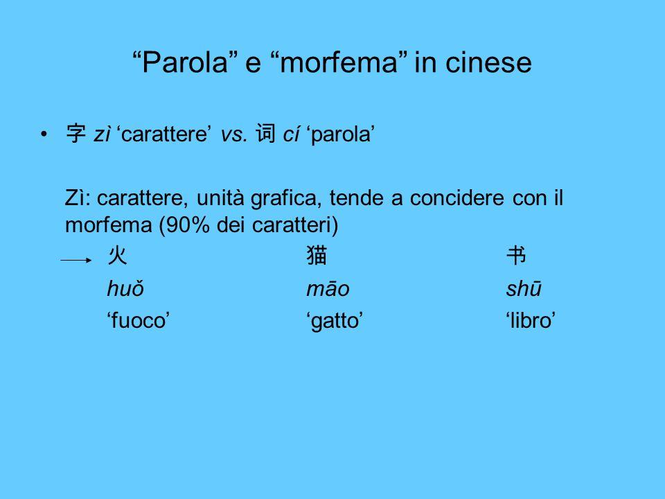 Parola e morfema in cinese zì carattere vs. cí parola Zì: carattere, unità grafica, tende a concidere con il morfema (90% dei caratteri) huǒmāoshū fuo