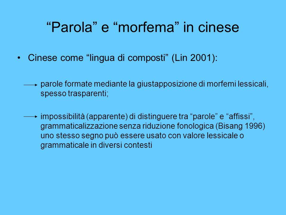 Parola e morfema in cinese Cinese come lingua di composti (Lin 2001): parole formate mediante la giustapposizione di morfemi lessicali, spesso traspar