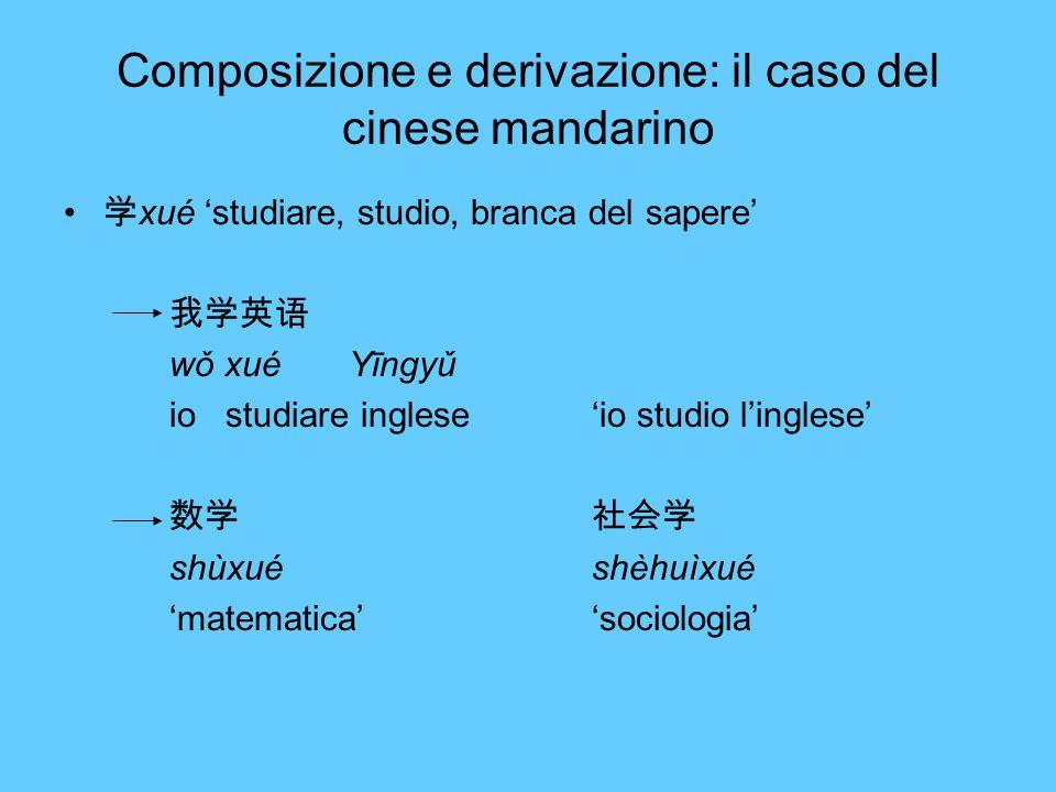 Composizione e derivazione: il caso del cinese mandarino xué studiare, studio, branca del sapere wǒ xué Yīngyǔ io studiare ingleseio studio linglese s