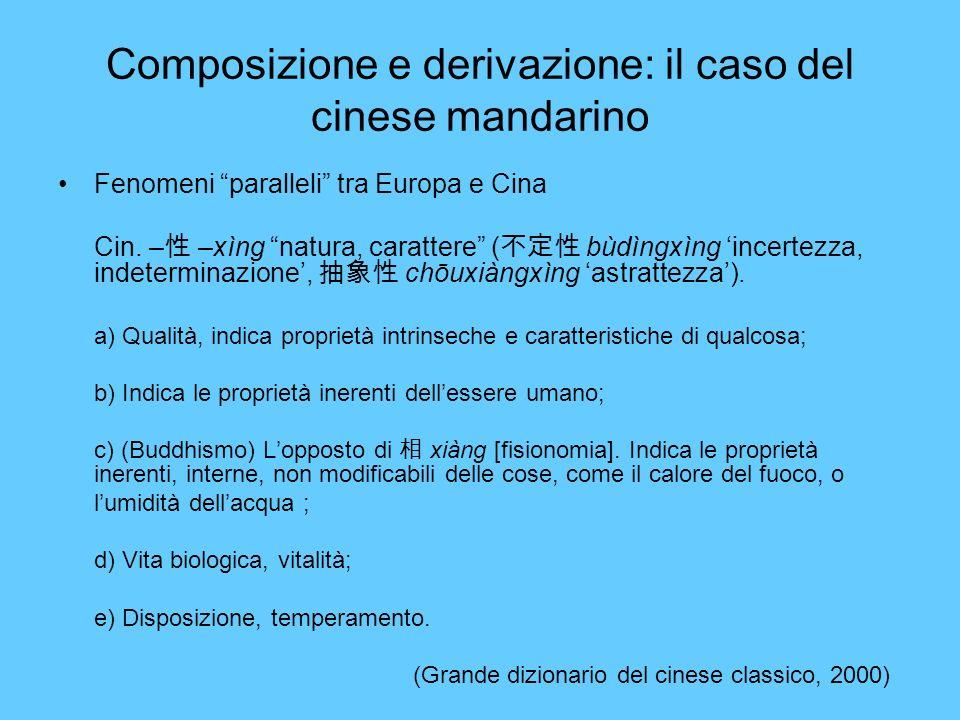 Composizione e derivazione: il caso del cinese mandarino Fenomeni paralleli tra Europa e Cina Cin. – –xìng natura, carattere ( bùdìngxìng incertezza,