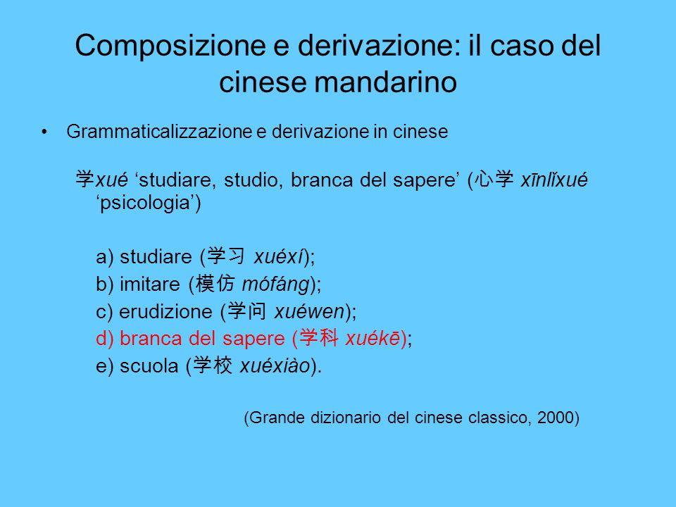 Composizione e derivazione: il caso del cinese mandarino Grammaticalizzazione e derivazione in cinese xué studiare, studio, branca del sapere ( xīnlǐx