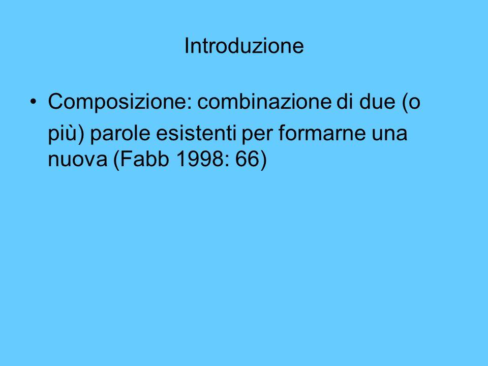 Introduzione Composizione: combinazione di due (o più) parole esistenti per formarne una nuova (Fabb 1998: 66)