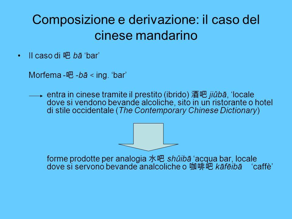 Composizione e derivazione: il caso del cinese mandarino Il caso di bā bar Morfema - -bā < ing. bar entra in cinese tramite il prestito (ibrido) jiǔbā