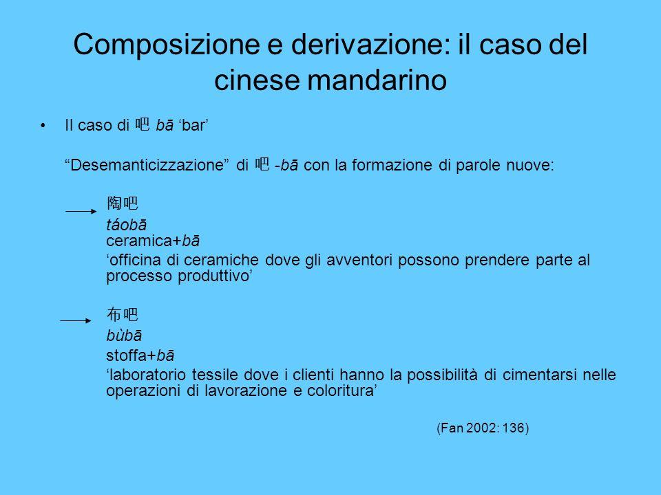 Composizione e derivazione: il caso del cinese mandarino Il caso di bā bar Desemanticizzazione di -bā con la formazione di parole nuove: táobā ceramic