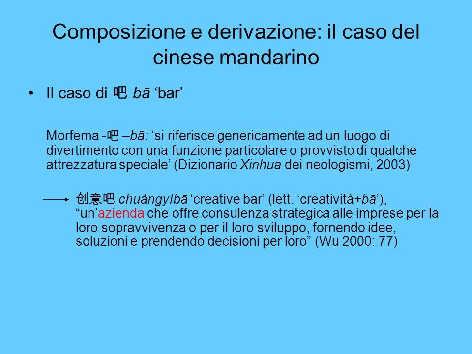 Composizione e derivazione: il caso del cinese mandarino Il caso di bā bar Morfema - –bā: si riferisce genericamente ad un luogo di divertimento con u