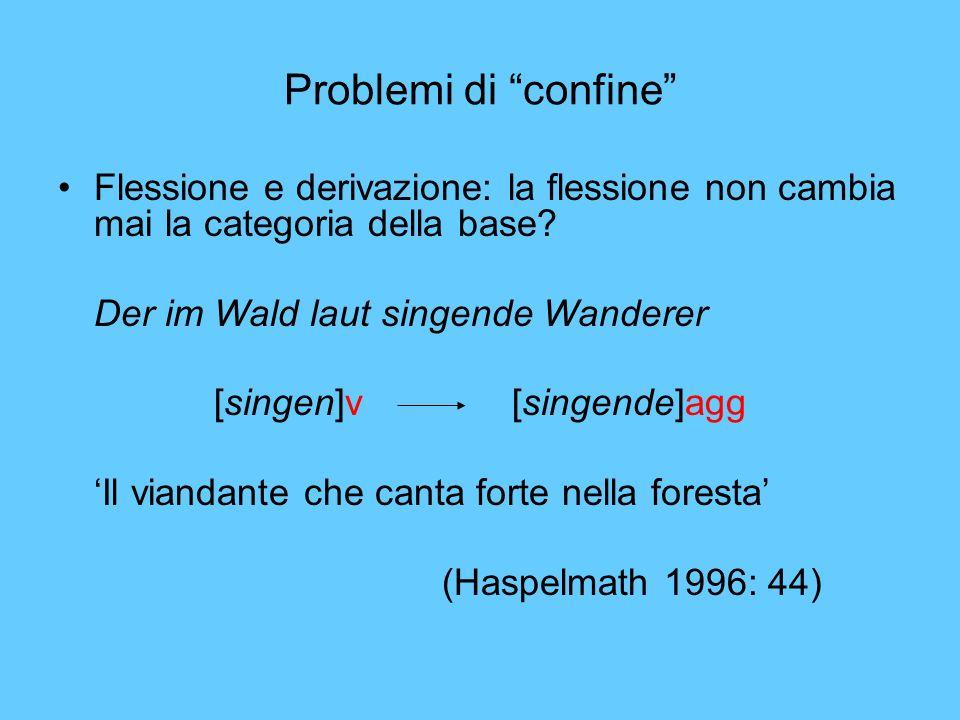 Problemi di confine Flessione e derivazione: la flessione non cambia mai la categoria della base? Der im Wald laut singende Wanderer [singen]v [singen
