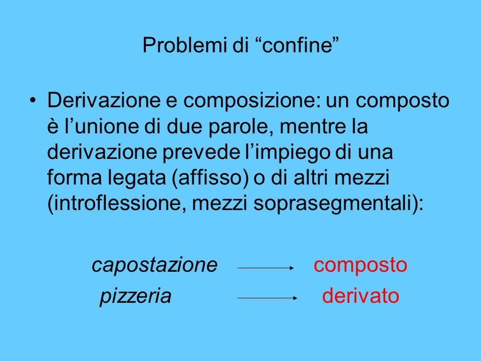 Problemi di confine Derivazione e composizione: un composto è lunione di due parole, mentre la derivazione prevede limpiego di una forma legata (affis