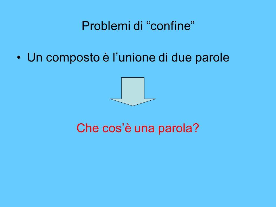 Problemi di confine Un composto è lunione di due parole.