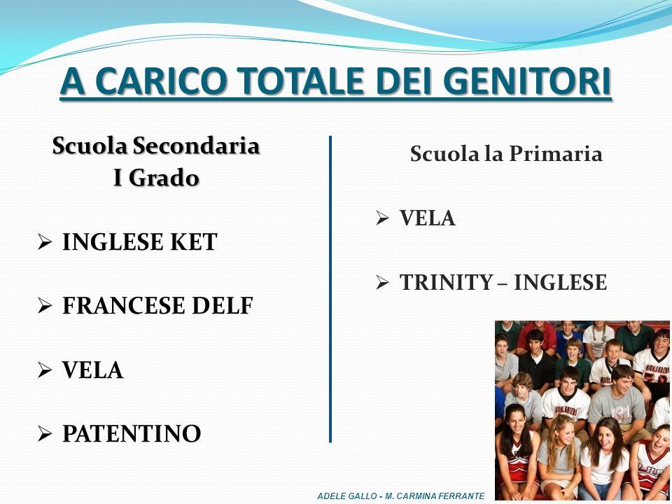 Scuola Secondaria I Grado INGLESE KET FRANCESE DELF VELA PATENTINO A CARICO TOTALE DEI GENITORI Scuola la Primaria VELA TRINITY – INGLESE ADELE GALLO - M.