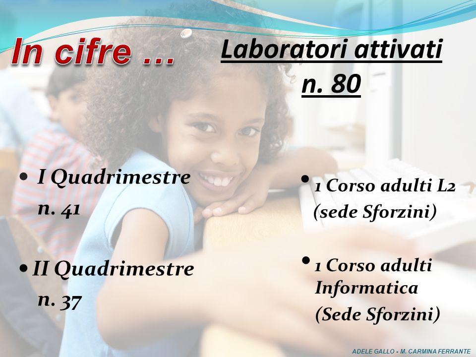 I Quadrimestre n.41 II Quadrimestre n. 37 Laboratori attivati n.