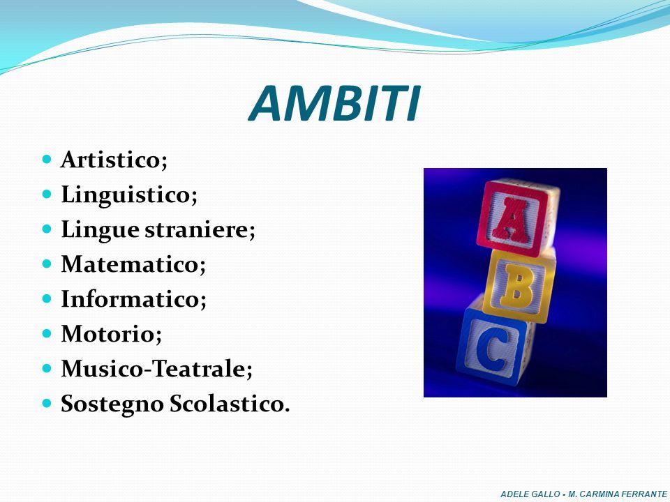 AMBITI Artistico; Linguistico; Lingue straniere; Matematico; Informatico; Motorio; Musico-Teatrale; Sostegno Scolastico.