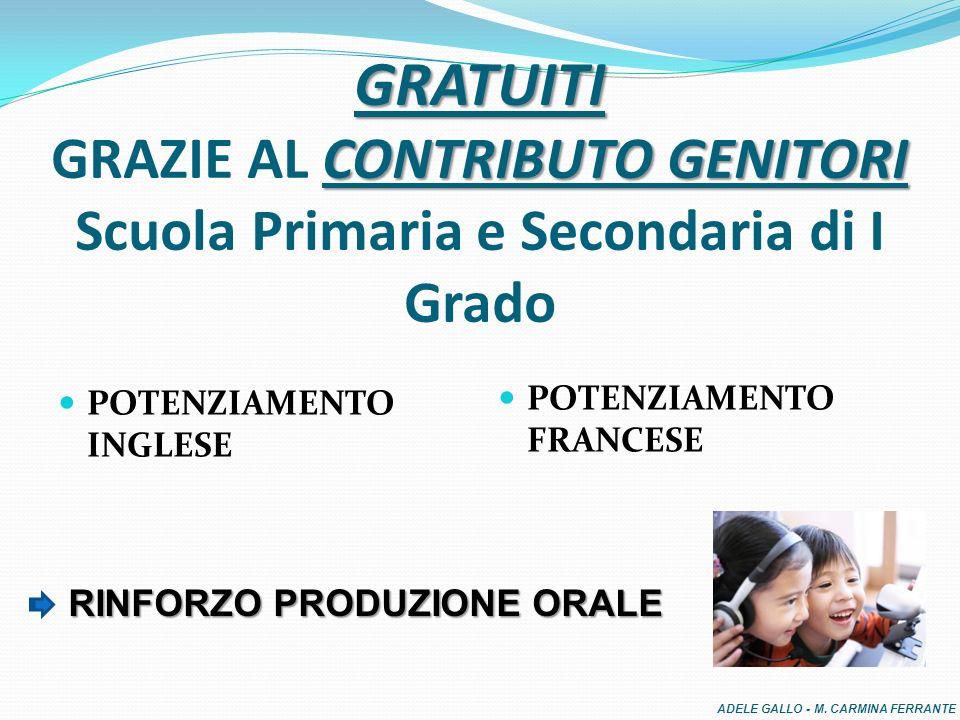 GRATUITI CONTRIBUTO GENITORI GRATUITI GRAZIE AL CONTRIBUTO GENITORI Scuola Primaria e Secondaria di I Grado POTENZIAMENTO INGLESE POTENZIAMENTO FRANCESE RINFORZO PRODUZIONE ORALE RINFORZO PRODUZIONE ORALE ADELE GALLO - M.