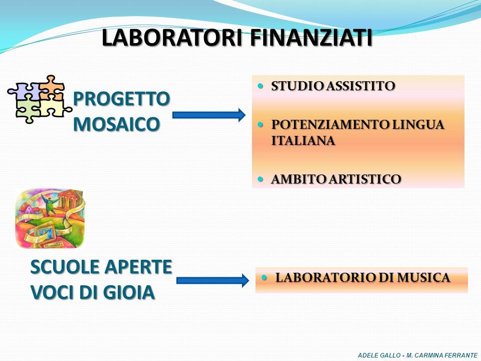 LABORATORI FINANZIATI STUDIO ASSISTITO STUDIO ASSISTITO POTENZIAMENTO LINGUA ITALIANA POTENZIAMENTO LINGUA ITALIANA AMBITO ARTISTICO AMBITO ARTISTICO LABORATORIO DI MUSICA LABORATORIO DI MUSICA SCUOLE APERTE VOCI DI GIOIA PROGETTO MOSAICO ADELE GALLO - M.