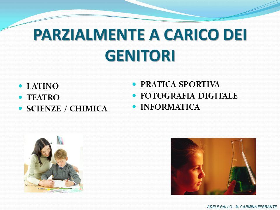PARZIALMENTE A CARICO DEI GENITORI LATINO TEATRO SCIENZE / CHIMICA PRATICA SPORTIVA FOTOGRAFIA DIGITALE INFORMATICA ADELE GALLO - M.