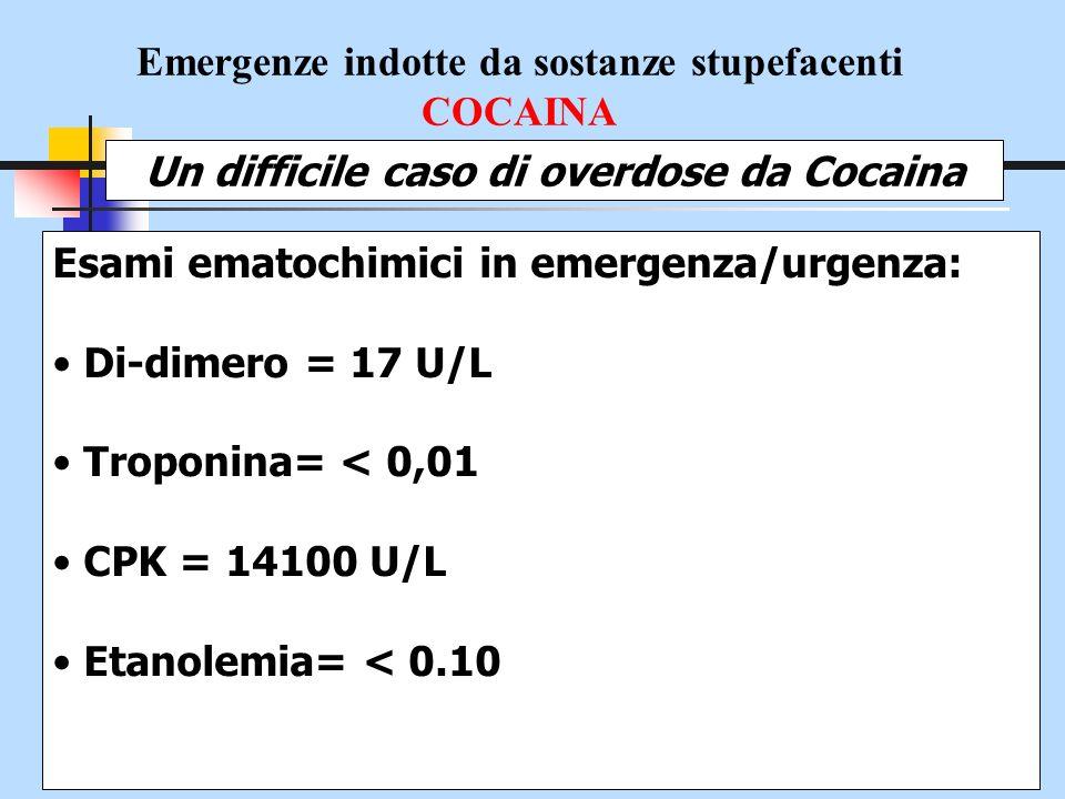 Emergenze indotte da sostanze stupefacenti COCAINA Un difficile caso di overdose da Cocaina Esami ematochimici in emergenza/urgenza: Di-dimero = 17 U/