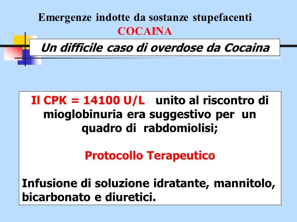 Emergenze indotte da sostanze stupefacenti COCAINA Un difficile caso di overdose da Cocaina Il CPK = 14100 U/L unito al riscontro di mioglobinuria era