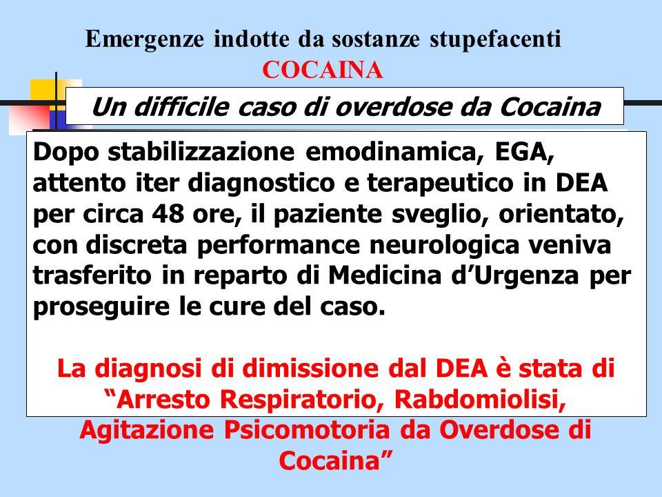Emergenze indotte da sostanze stupefacenti COCAINA Un difficile caso di overdose da Cocaina Dopo stabilizzazione emodinamica, EGA, attento iter diagno