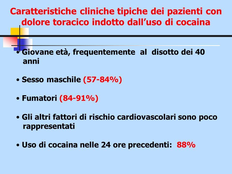 Caratteristiche cliniche tipiche dei pazienti con dolore toracico indotto dalluso di cocaina Giovane età, frequentemente al disotto dei 40 anni Sesso