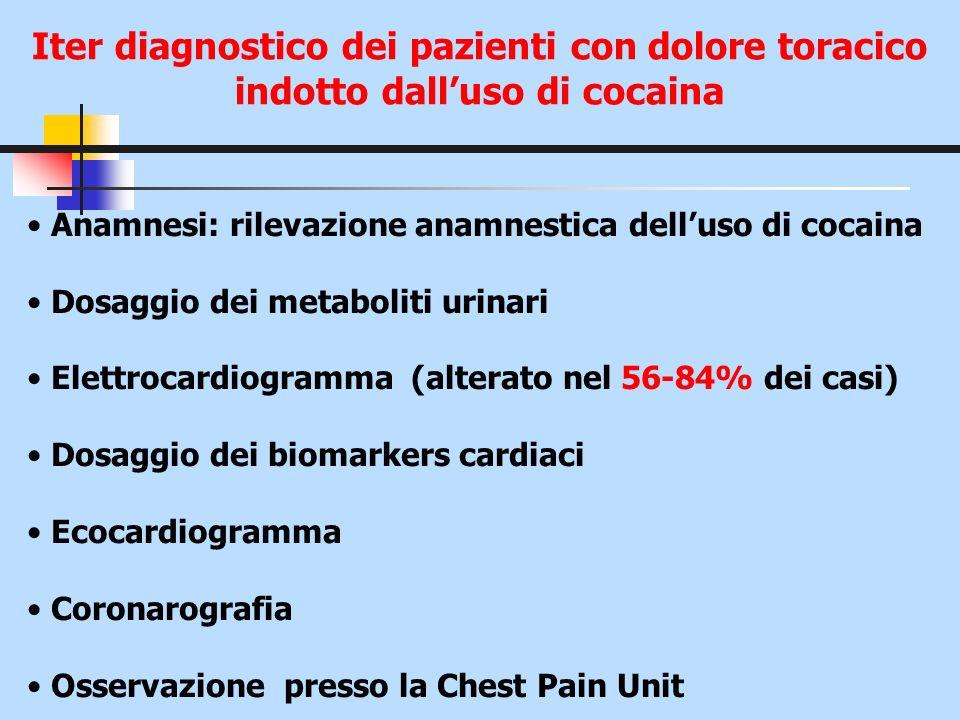 Iter diagnostico dei pazienti con dolore toracico indotto dalluso di cocaina Anamnesi: rilevazione anamnestica delluso di cocaina Dosaggio dei metabol