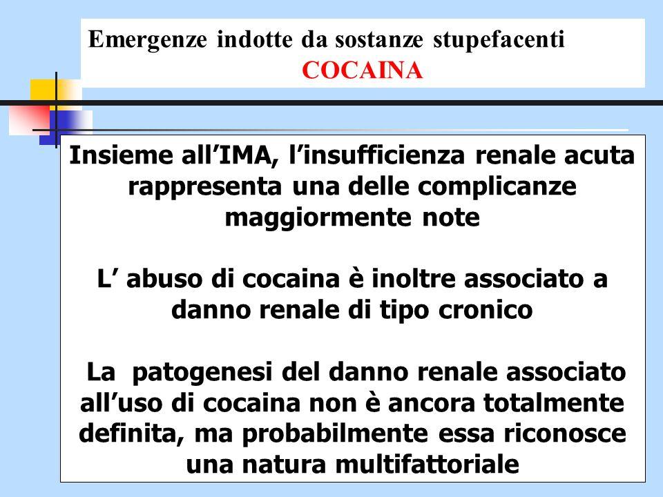 Insieme allIMA, linsufficienza renale acuta rappresenta una delle complicanze maggiormente note L abuso di cocaina è inoltre associato a danno renale