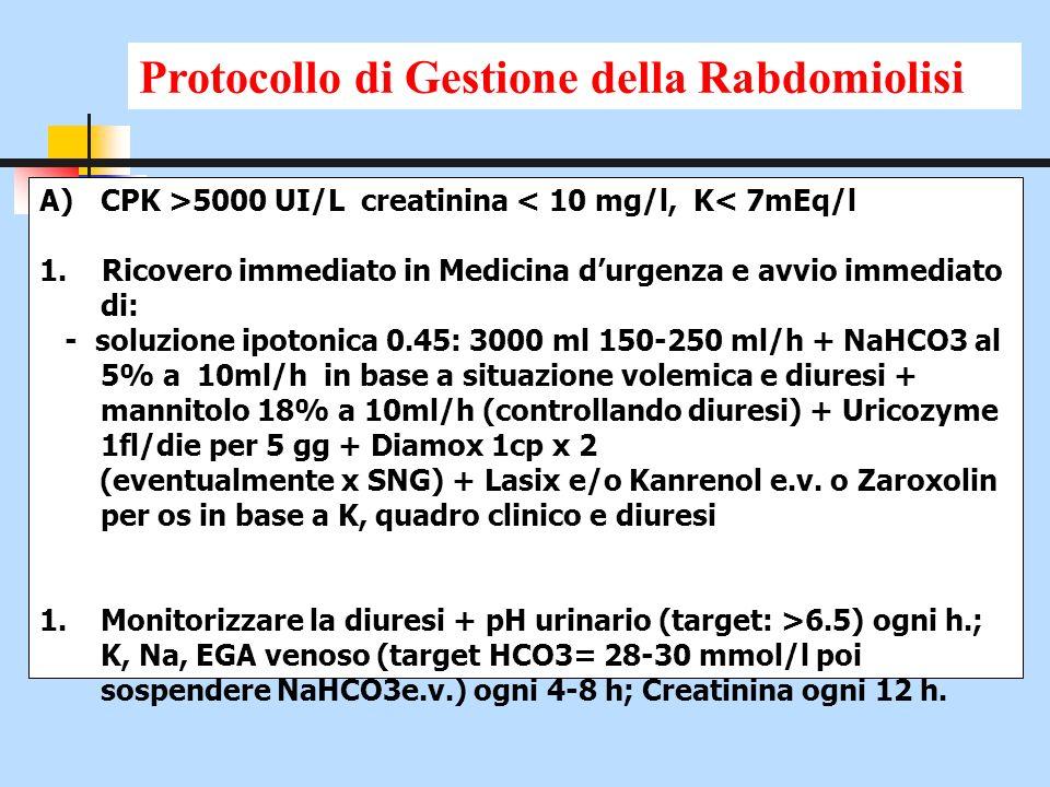 A)CPK >5000 UI/L creatinina < 10 mg/l, K< 7mEq/l 1. Ricovero immediato in Medicina durgenza e avvio immediato di: - soluzione ipotonica 0.45: 3000 ml
