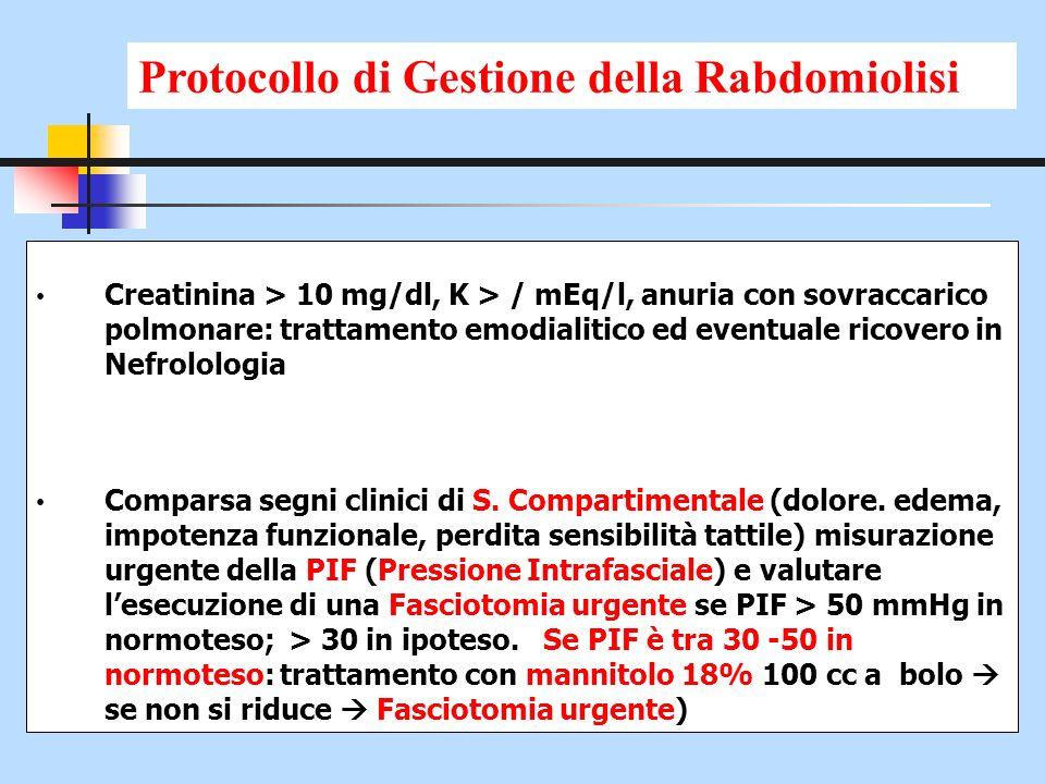 Creatinina > 10 mg/dl, K > / mEq/l, anuria con sovraccarico polmonare: trattamento emodialitico ed eventuale ricovero in Nefrolologia Comparsa segni c