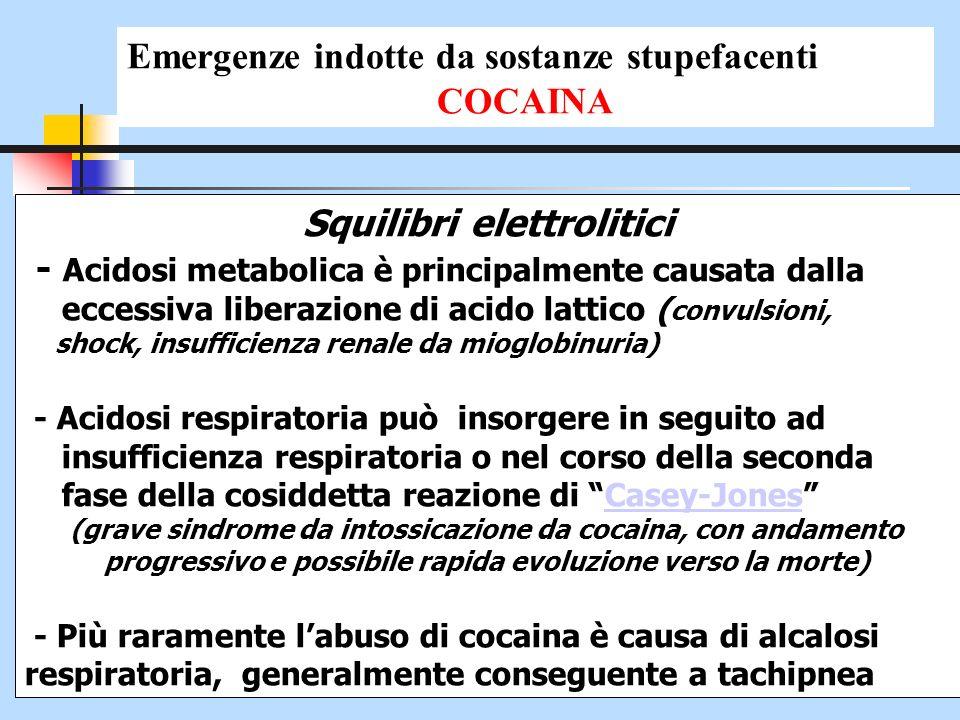Squilibri elettrolitici - Acidosi metabolica è principalmente causata dalla eccessiva liberazione di acido lattico ( convulsioni, shock, insufficienza