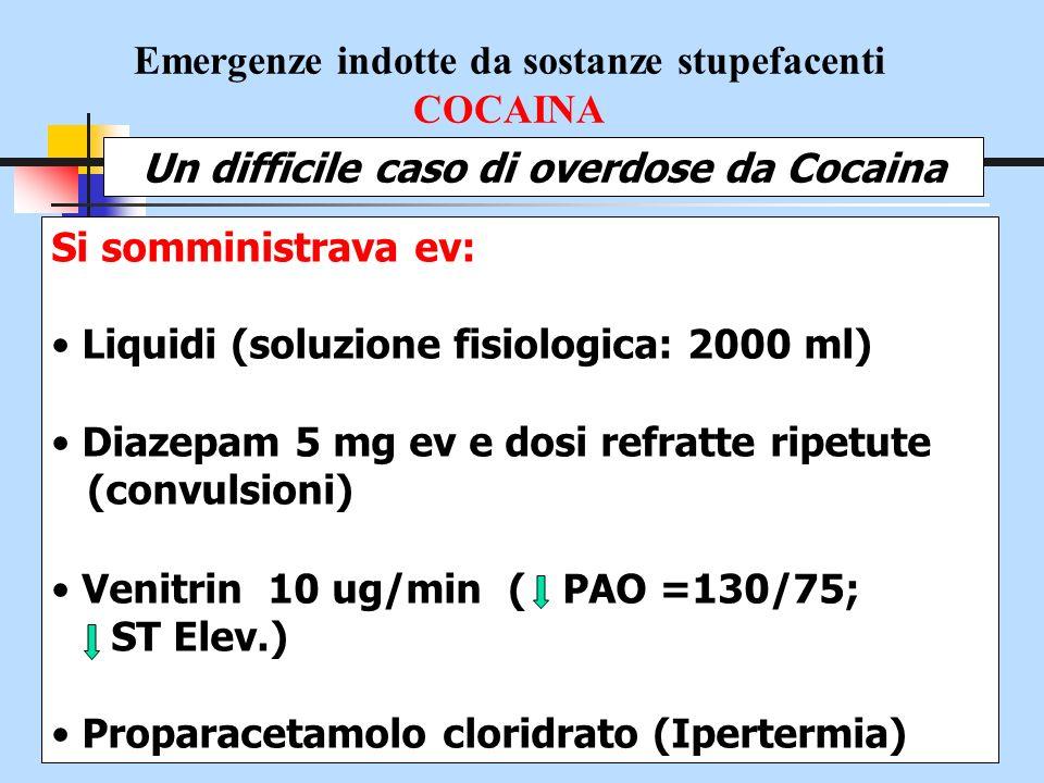 Emergenze indotte da sostanze stupefacenti COCAINA Un difficile caso di overdose da Cocaina Esami ematochimici in emergenza/urgenza EGA arterioso PH = 7.10 PO2 = 56 mmHg PCO2 = 47 mmHg HCO3 = 14 mmol/L BE = -10 mmol/L FiO2 = 0.90 (90% stimata) Acidosi mista