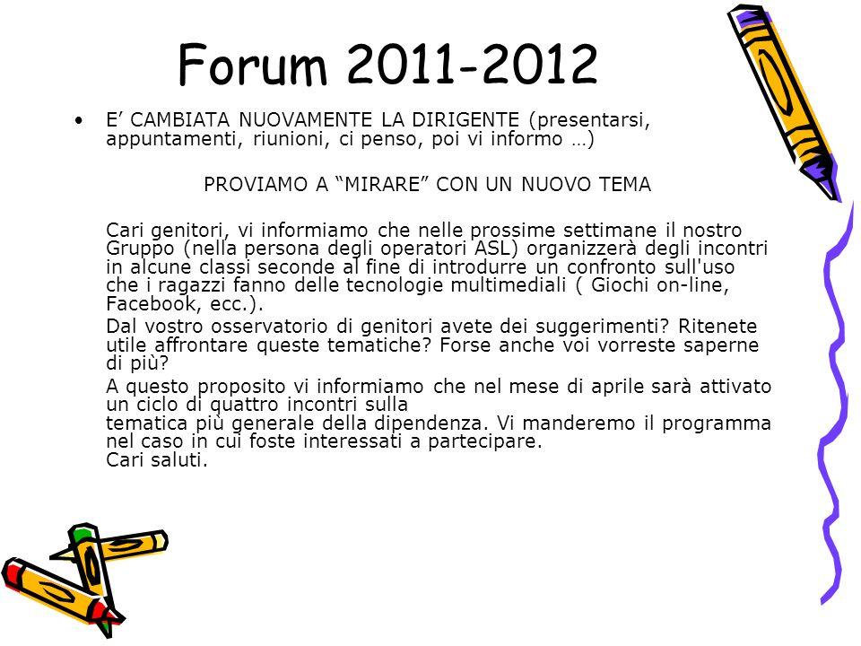 Forum 2011-2012 E CAMBIATA NUOVAMENTE LA DIRIGENTE (presentarsi, appuntamenti, riunioni, ci penso, poi vi informo …) PROVIAMO A MIRARE CON UN NUOVO TE