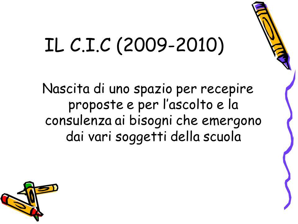 IL C.I.C (2009-2010) Nascita di uno spazio per recepire proposte e per lascolto e la consulenza ai bisogni che emergono dai vari soggetti della scuola