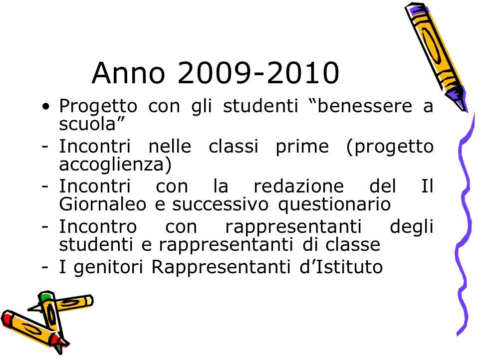 Anno 2009-2010 Progetto con gli studenti benessere a scuola -Incontri nelle classi prime (progetto accoglienza) -Incontri con la redazione del Il Gior